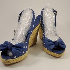 Zara Trafaluc white polka dot on blue wedges NWT